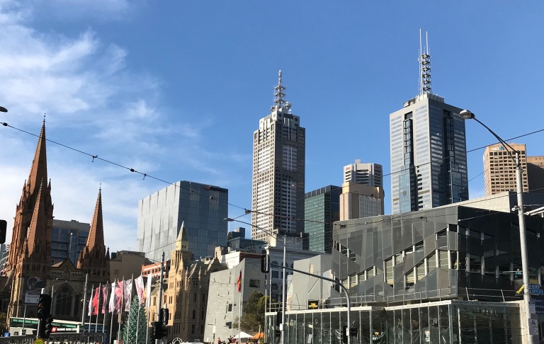 Cathy Travelling City view facing Federation Square